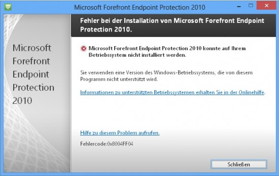 installing FEP client 2010 on windows 8 [update]