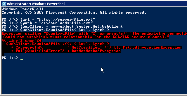 powershell - download file from server via https which has a self signed certificate