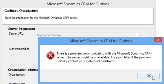 installing crm outlook plugin on windows 8 fails - problem communicating with the microsoft dynamics crm server